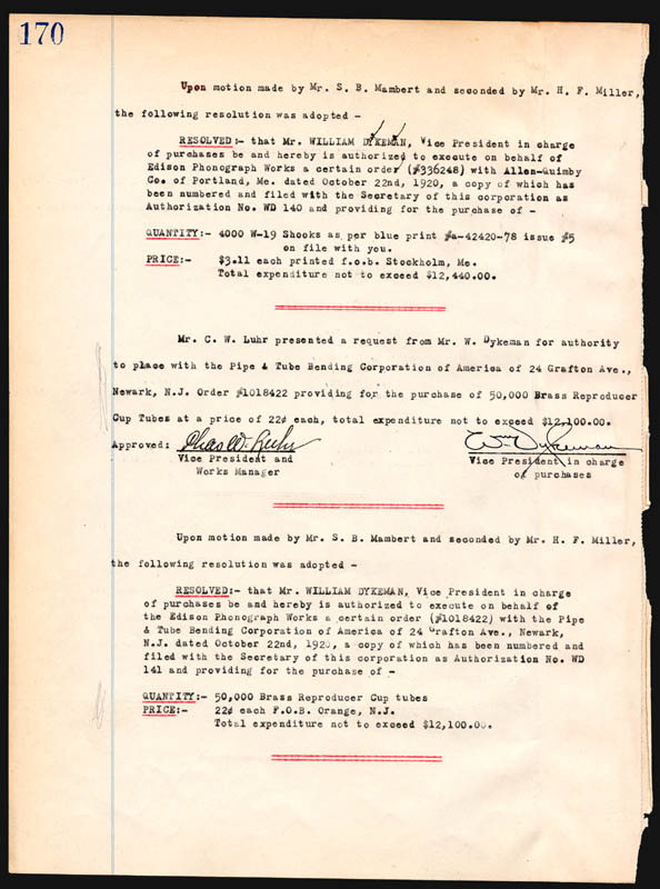 Image 3 for Thomas A. Edison - Corporate Minutes Signed 10/20/1920 with co-signers - HFSID 84395