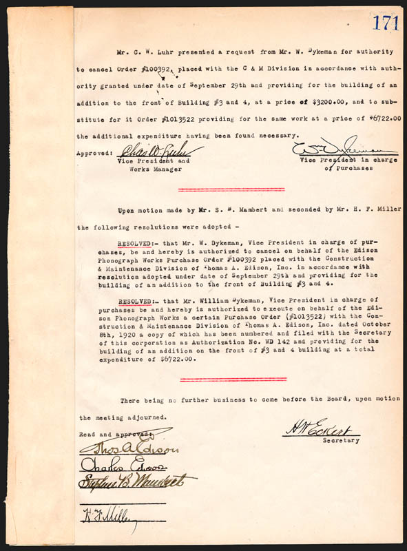 Image 4 for Thomas A. Edison - Corporate Minutes Signed 10/20/1920 with co-signers - HFSID 84395
