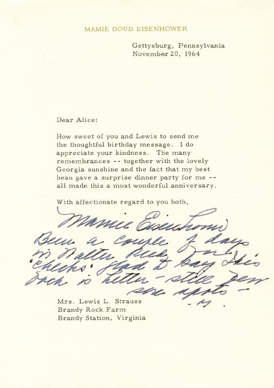 Image 1 for First Lady Mamie Doud Eisenhower - Typed Letter Signed 11/20/1964 - HFSID 84529