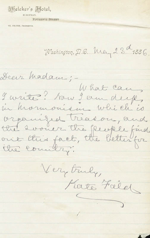 Image 2 for Kate Field - Autograph Letter Signed 05/23/1886 - HFSID 846