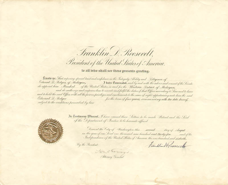 Image 1 for President Franklin D. Roosevelt - Civil Appointment Signed 08/02/1935 co-signed by: Homer S. Cummings - HFSID 84720