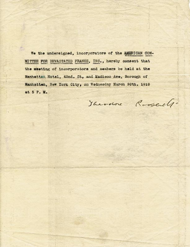 Image 1 for President Theodore Roosevelt - Document Signed 1918 - HFSID 84780