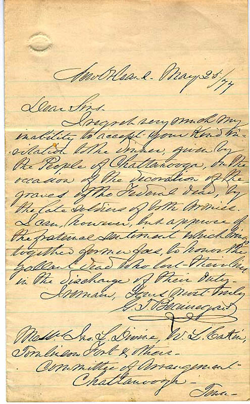 Image 1 for General Pierre G.T. Beauregard - Autograph Letter Signed 05/25/1877 - HFSID 84842