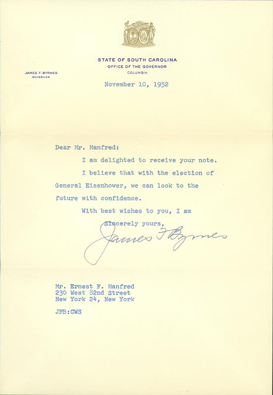 Image 1 for Associate Justice James F. Byrnes - Typed Letter Signed 11/10/1958 - HFSID 84845