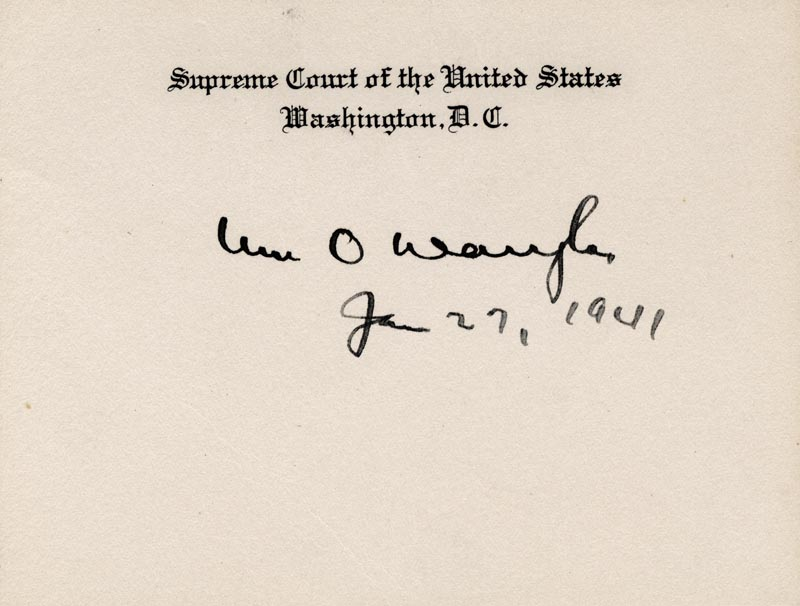 Image 1 for Associate Justice William O. Douglas - Supreme Court Card Signed 01/27/1941 - HFSID 84863