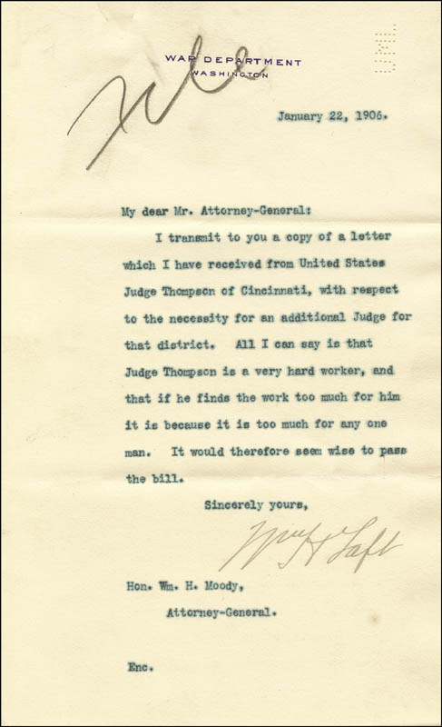Image 1 for President William H. Taft - Typed Letter Signed 01/22/1906 - HFSID 84876