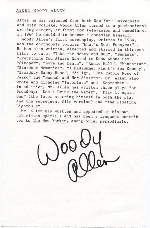Image 1 for Woody Allen - Biography Signed - HFSID 85137