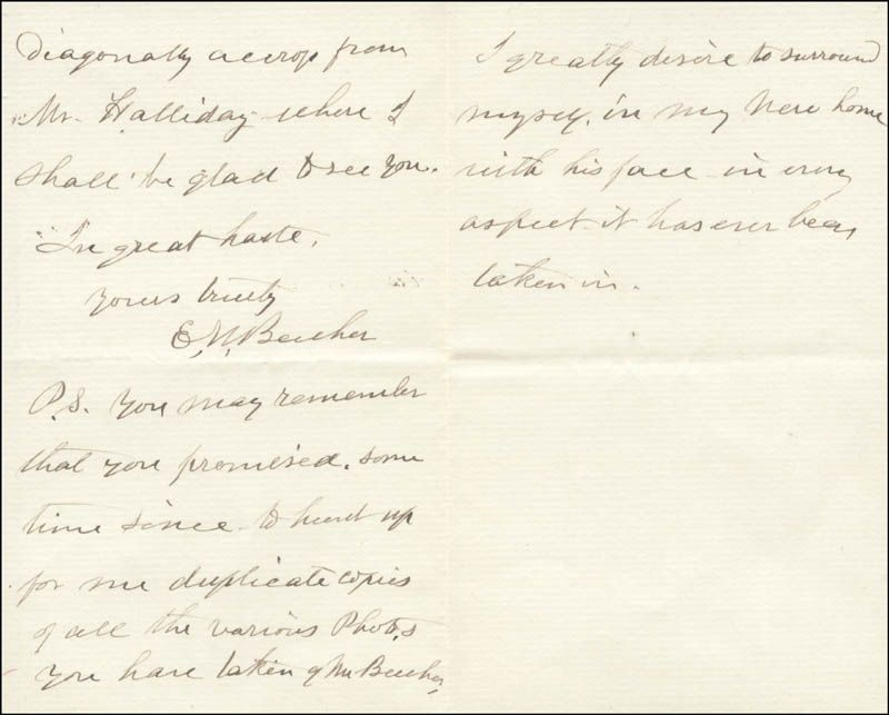 Image 1 for Eunice (Mrs. Henry Ward) Beecher - Autograph Letter Signed 04/25/1889 - HFSID 853