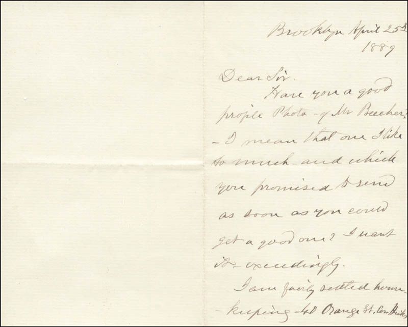 Image 3 for Eunice (Mrs. Henry Ward) Beecher - Autograph Letter Signed 04/25/1889 - HFSID 853
