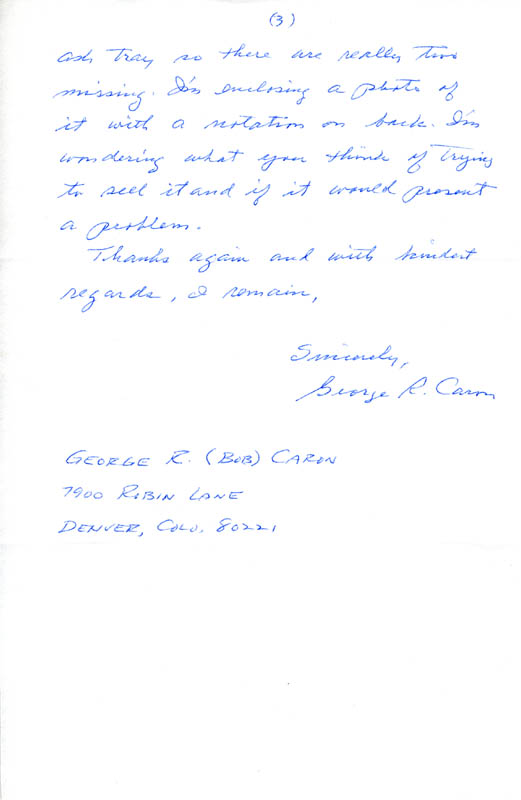 Image 1 for Enola Gay Crew (George R. Caron) - Autograph Letter Signed 03/15/1989 - HFSID 85428