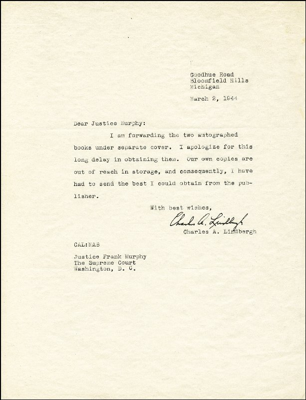 Image 1 for Charles A. Lindbergh - Typed Letter Signed 03/02/1944 - HFSID 85434
