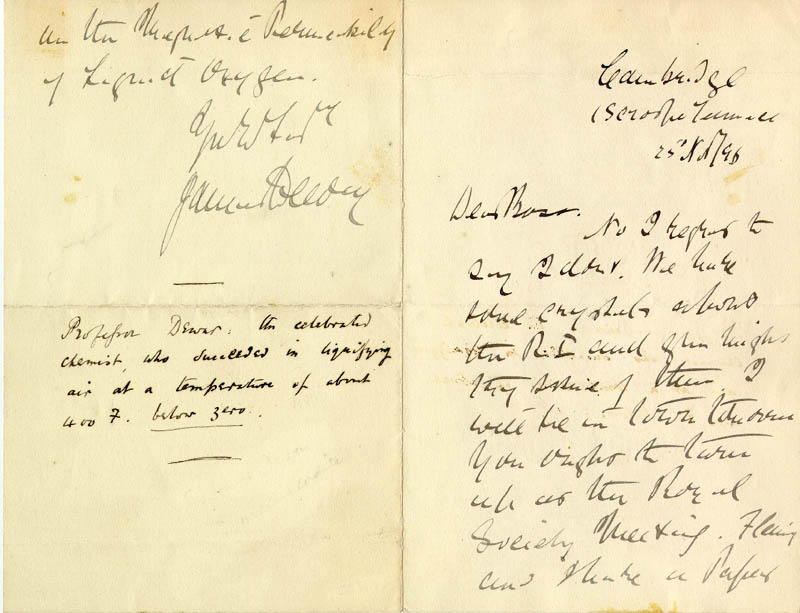 Image 1 for Sir James Dewar - Autograph Letter Signed 11/25/1896 - HFSID 85440