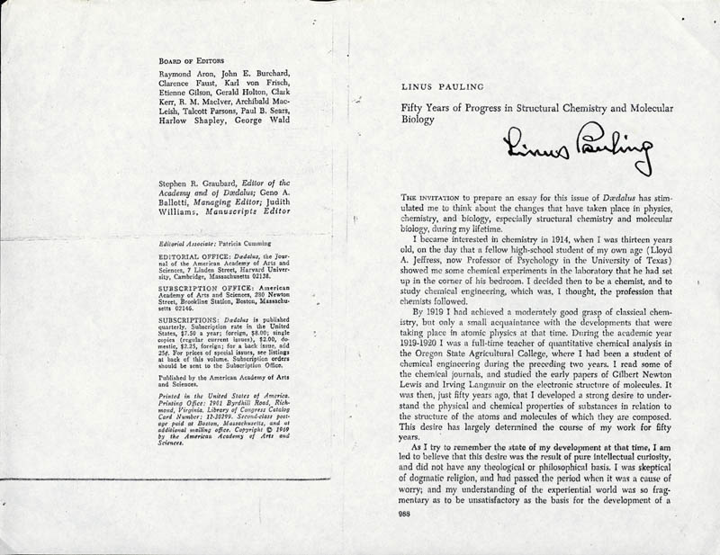 Image 1 for Linus Pauling - Pamphlet Signed - HFSID 85459
