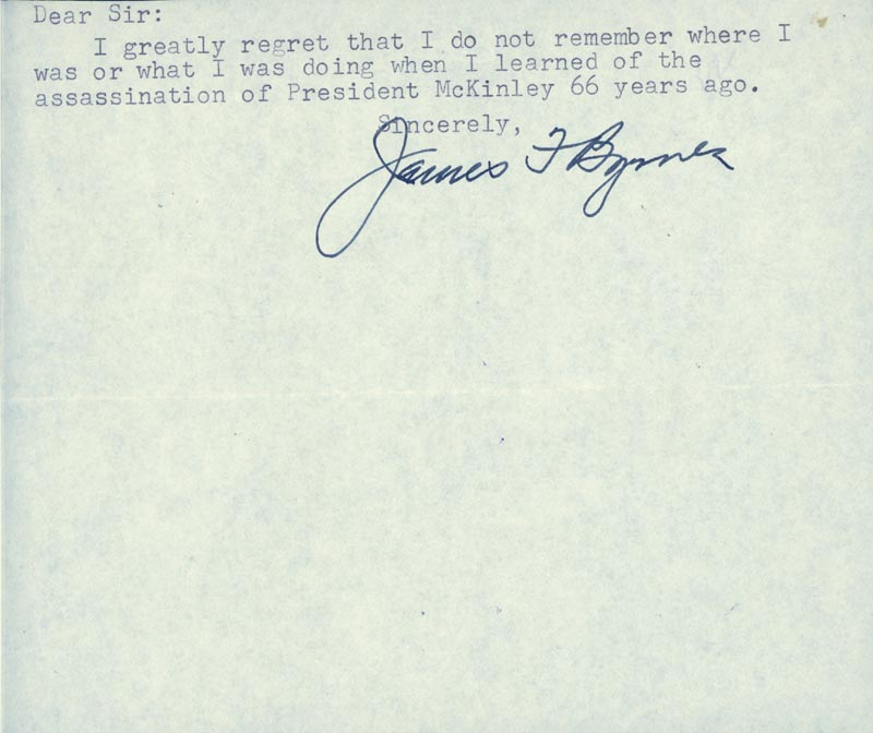 Image 1 for Associate Justice James F. Byrnes - Typed Note Signed - HFSID 85497