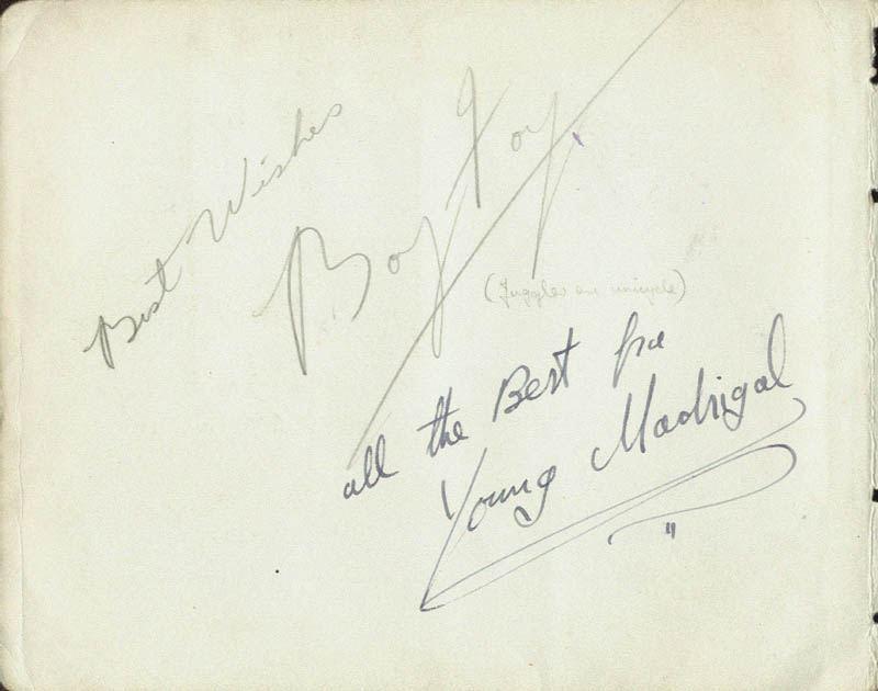 Image 1 for Boy Foy - Autograph Sentiment Signed 02/1940 with co-signers - HFSID 85538