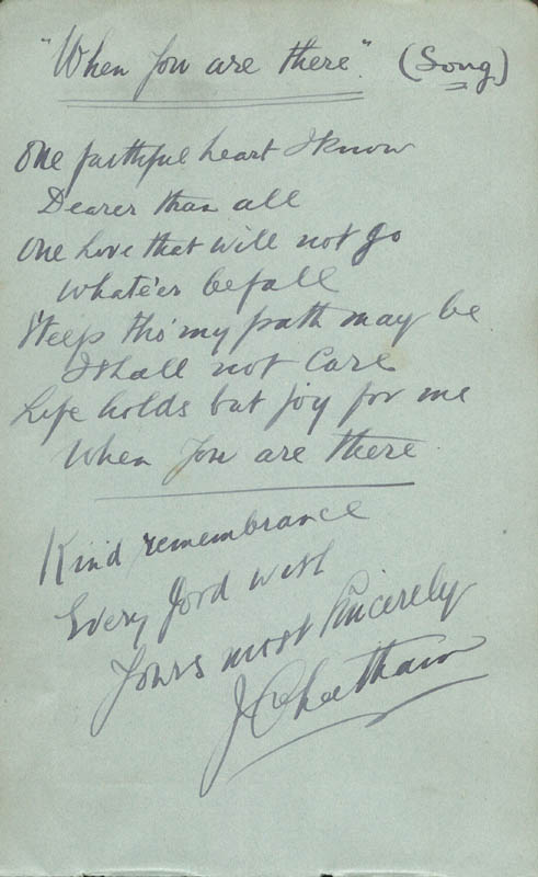 Image 1 for John Cheetham - Autograph Lyrics Signed 1917 co-signed by: George Formby Sr. - HFSID 85575