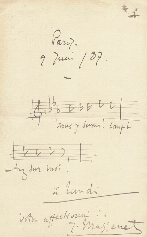 Image 1 for Jules Massenet - Musical Quotation Signed 06/09/1887 - HFSID 85659