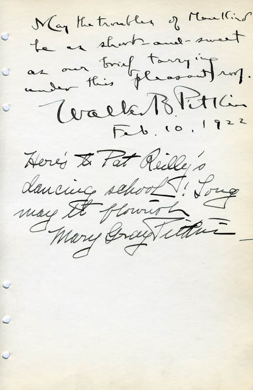 Image 1 for Walter B. Pitkin - Autograph Quotation Signed 02/10/1922 co-signed by: Mary Gray Pitkin - HFSID 85680