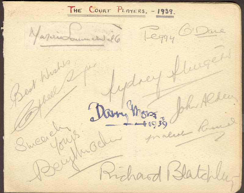 Image 1 for Barry Morse - Autograph 1939 co-signed by: Peggy (Peggy O'Day) O'Dare, Marjorie Sommerville, Sydney Sturgess, Campbell Singer - HFSID 85825