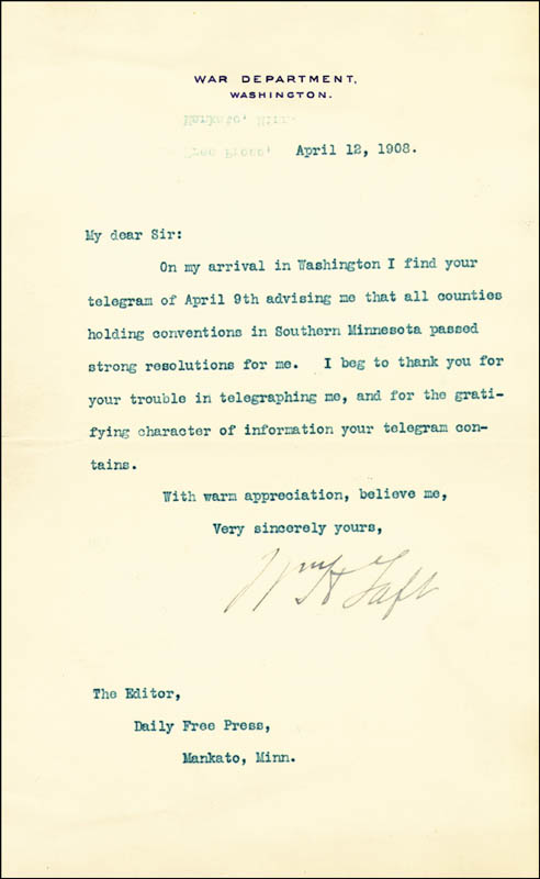 Image 1 for President William H. Taft - Typed Letter Signed 04/12/1908 - HFSID 86018