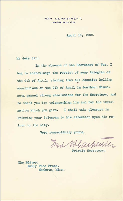 Image 3 for President William H. Taft - Typed Letter Signed 04/12/1908 - HFSID 86018