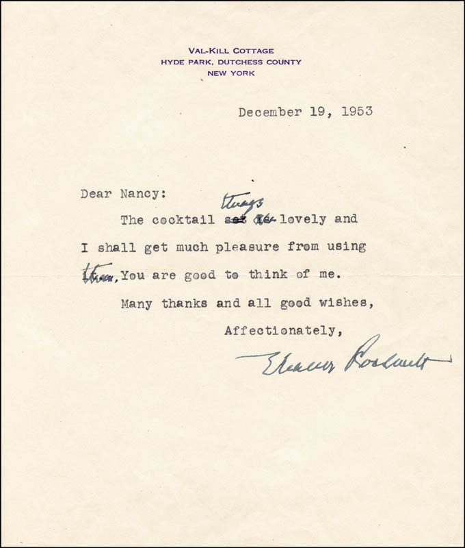 Image 1 for First Lady Eleanor Roosevelt - Typed Letter Signed 12/19/1953 - HFSID 86024