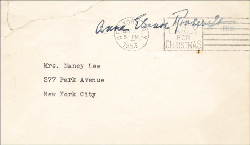 Image 3 for First Lady Eleanor Roosevelt - Typed Letter Signed 12/19/1953 - HFSID 86024