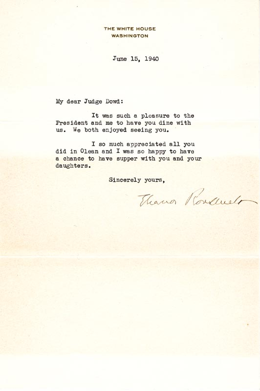Image 1 for First Lady Eleanor Roosevelt - Typed Letter Signed 06/15/1940 - HFSID 86026