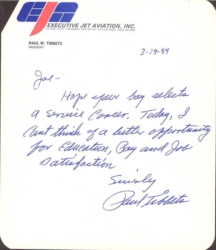 Image 1 for Enola Gay Crew (Paul W. Tibbets) - Autograph Letter Signed 03/29/1984 - HFSID 86047