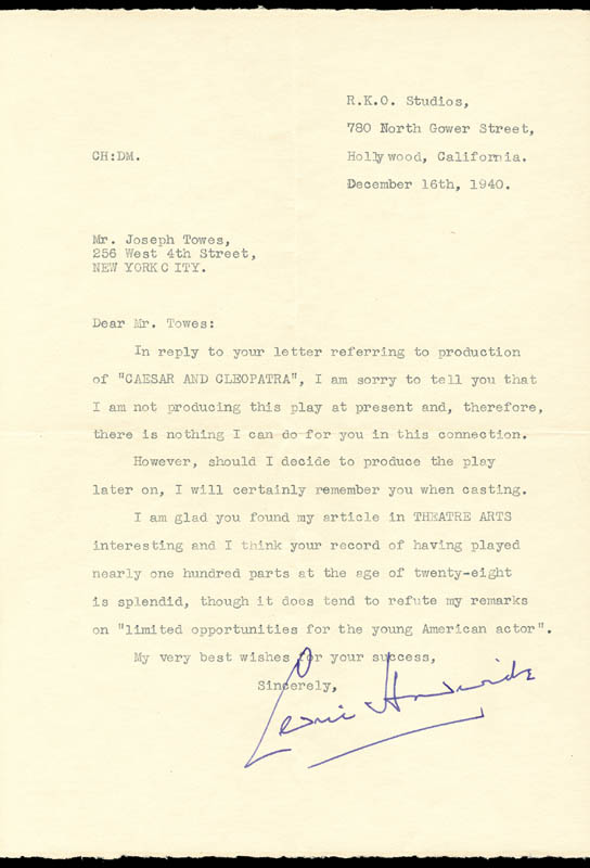 Image 1 for Sir Cedric Hardwicke - Typed Letter Signed 12/16/1940 - HFSID 86054