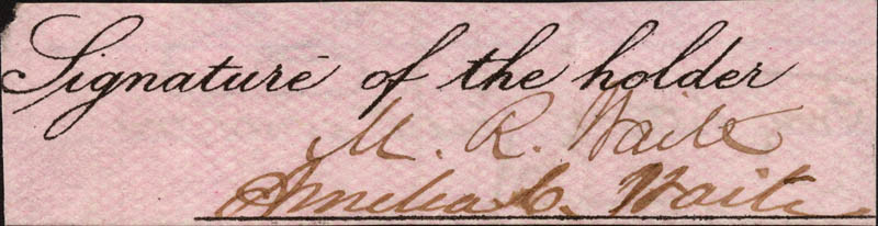 Image 1 for Chief Justice Morrison R. Waite - Clipped Signature co-signed by: Amelia C. Waite - HFSID 86086