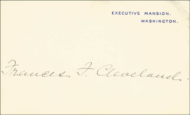Image 1 for First Lady Frances F. Cleveland - White House Card Signed - HFSID 86088