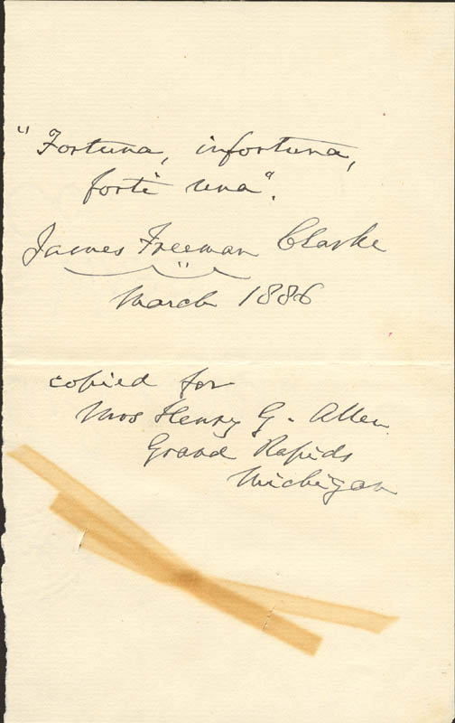 Image 1 for James Freeman Clarke - Autograph Quotation Signed 3/1886 - HFSID 866