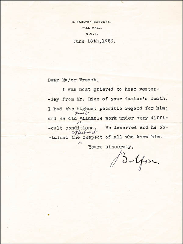 Prime Minister Arthur J Balfour Great Britain Typed Letter