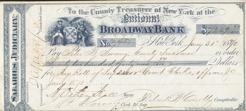 Image 1 for A. Oakey Hall - Autographed Signed Check 01/31/1870 co-signed by: Richard B. Connolly - HFSID 86796