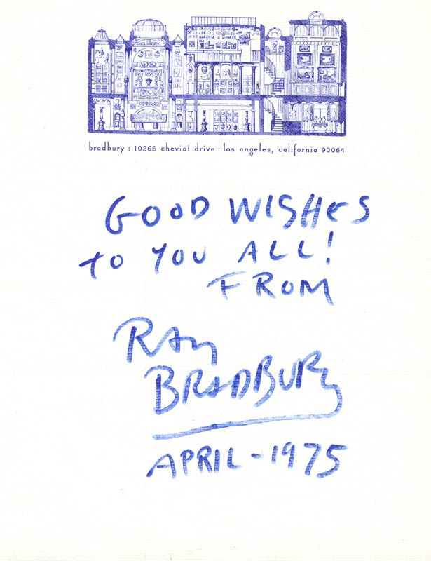 Image 1 for Ray Bradbury - Autograph Note Signed 4/1975 - HFSID 86869