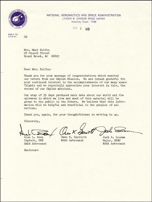 Image 1 for Captain Alan L. Bean - Typed Letter Signed 11/06/1973 co-signed by: Colonel Jack Lousma, Owen K. Garriott - HFSID 86981