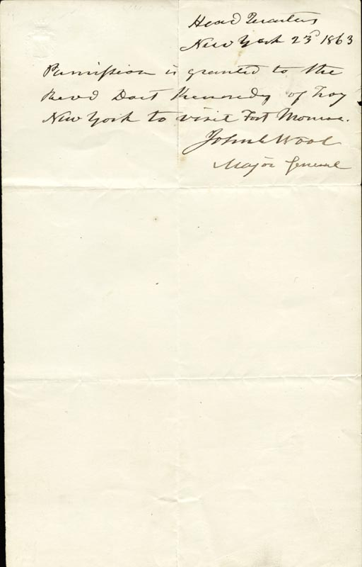 Image 1 for Major General John E. Wool - Autograph Note Signed 1863 - HFSID 87116