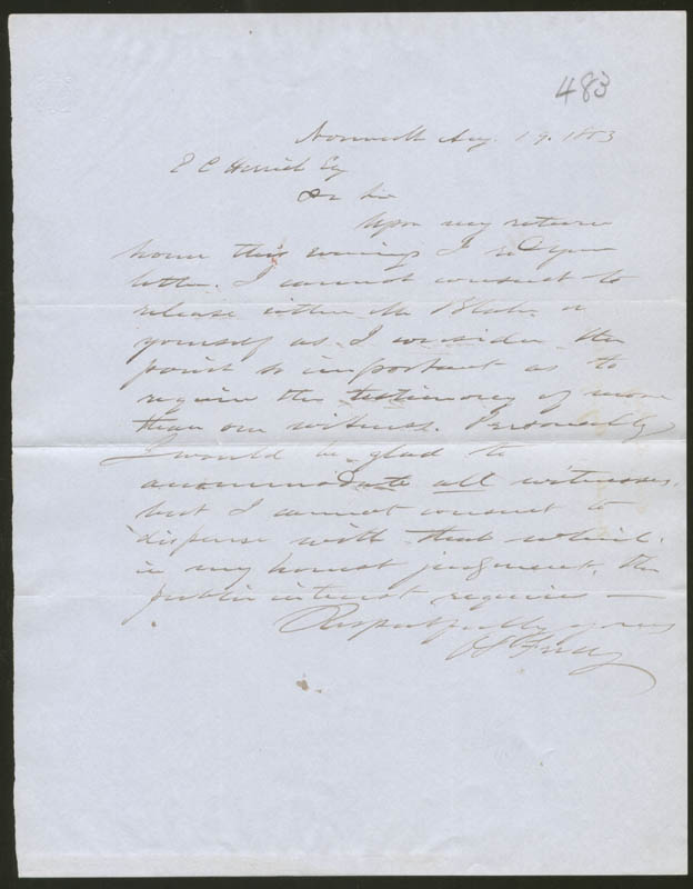 Image 1 for Brigadier General Orris S. Ferry - Autograph Letter Signed 08/19/1853 - HFSID 87146