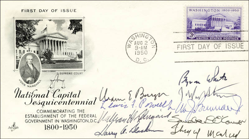 Image 1 for The Warren E. Burger Court - First Day Cover Signed with co-signers - HFSID 87221