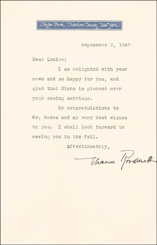 Image 1 for First Lady Eleanor Roosevelt - Typed Letter Signed 09/02/1947 - HFSID 87254