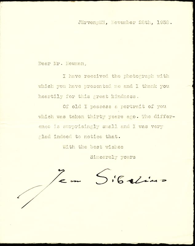Image 1 for Jean Sibelius - Typed Letter Signed 11/28/1938 - HFSID 87287