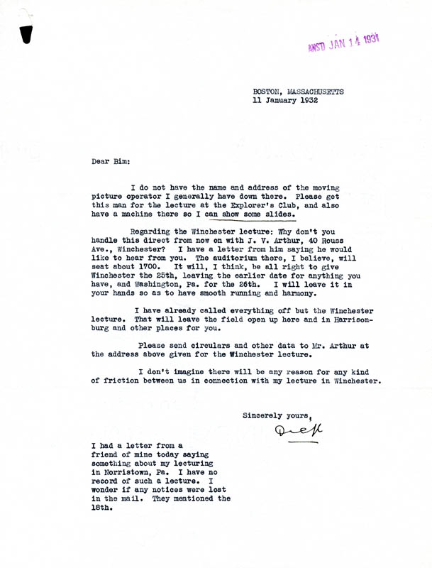 Image 1 for Rear Admiral Richard E. Byrd - Typed Letter Signed 01/11/1932 - HFSID 87364
