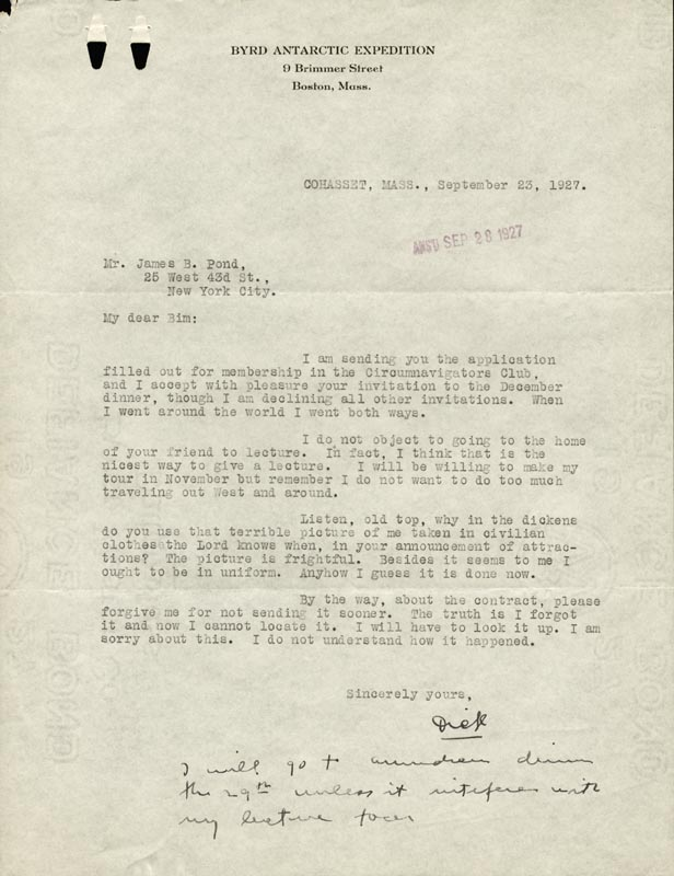 Image 1 for Rear Admiral Richard E. Byrd - Typed Letter Signed 09/23/1927 - HFSID 87530