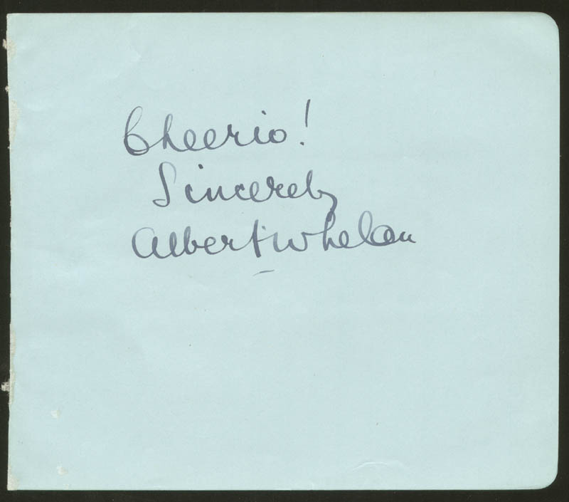 Image 1 for Albert Whelan - Autograph Sentiment Signed - HFSID 88015