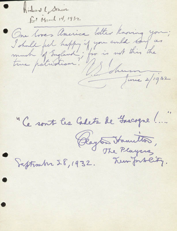 Image 1 for Clayton Hamilton - Autograph Quotation Signed 09/28/1932 - HFSID 88061
