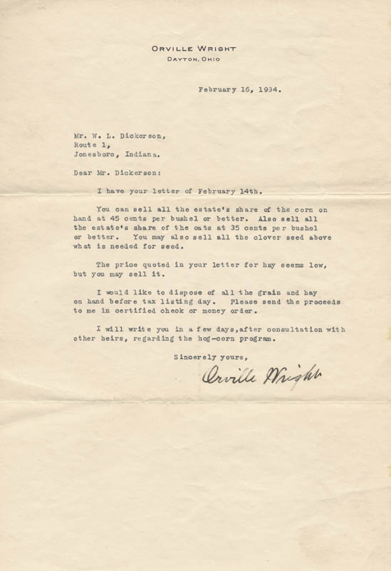 Image 1 for Orville Wright - Typed Letter Signed 02/16/1934 - HFSID 88109
