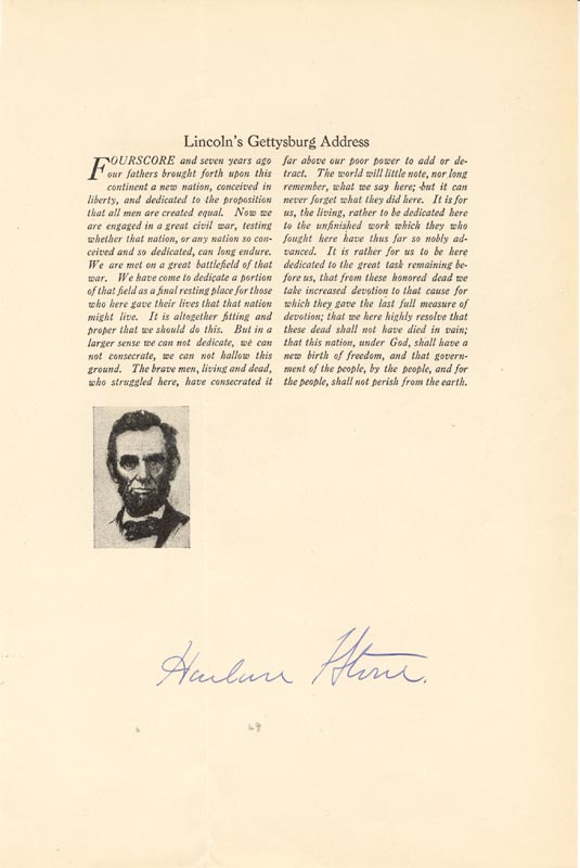 Image 1 for Chief Justice Harlan F. Stone - Typescript Signed - HFSID 88223