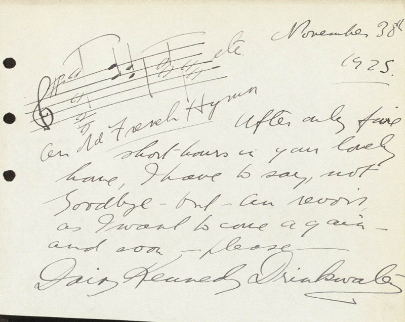 Image 1 for Daisy Kennedy - Autograph Musical Quotation Signed 11/30/1925 - HFSID 88284