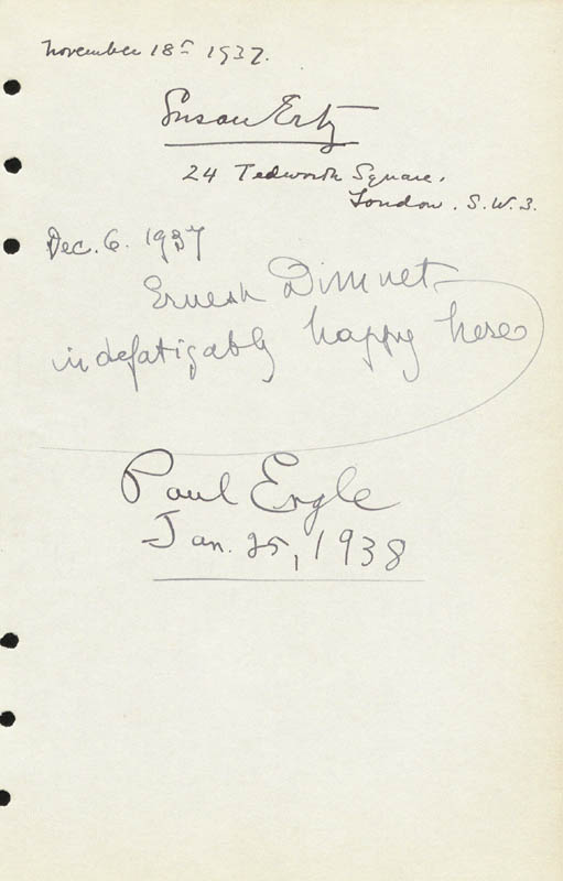 Image 1 for Paul Engle - Autograph 01/25/1938 co-signed by: Ernest Dimnet, Susan Ertz - HFSID 88293